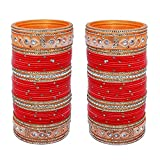Lucky Jewellery Bangle Set for Women (Red) (508-M1C1-722-R24)