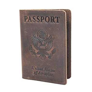 RFID Blocking Passport Holder Travel Wallet - Genuine Crazy Horse Leather for Men(Coffee)