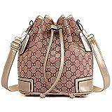 Women Drawstring,Women Bag, KINGH Vintage Bag PU Leather & Canvas Handbag 077 Purple