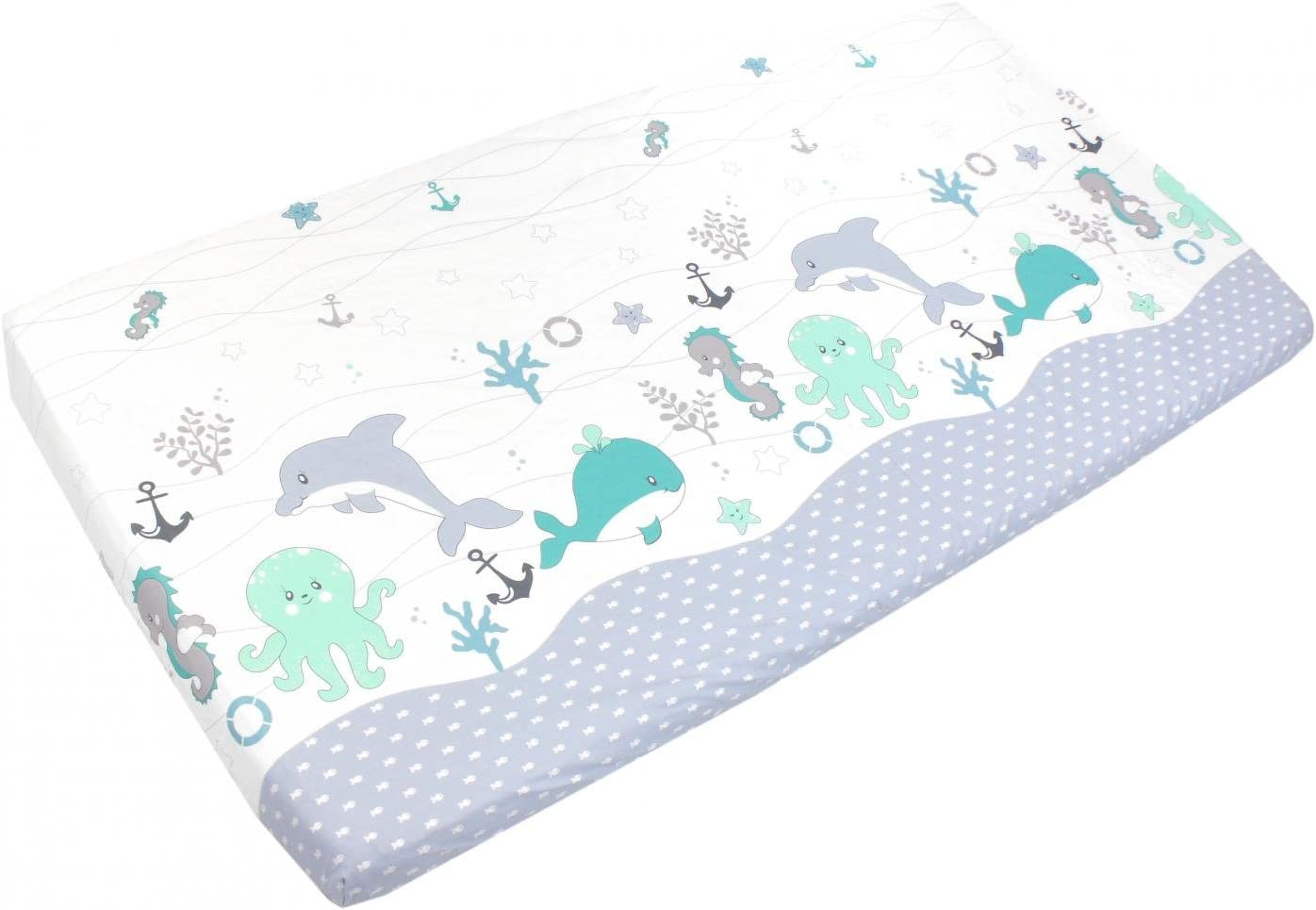 70 x 140 cm Bird Green TupTam Baby Bed Crib Cot Fitted Sheets with Printed Designs