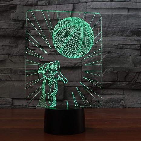 Creativo Baloncesto Dunk Lámpara de Mesa 3D Luz de Noche Led ...
