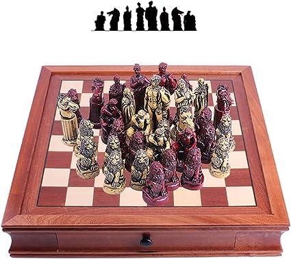 ZUOQUAN Set De Ajedrez, Piezas de ajedrez De Resina, Ajedrez Juego De Mesa Portátil Y Ligero, Ideal para Viajar, Plegable Y Fácil, Entretenimiento para Niños Y Adultos, 42 * 42.8CM: Amazon.es: Deportes