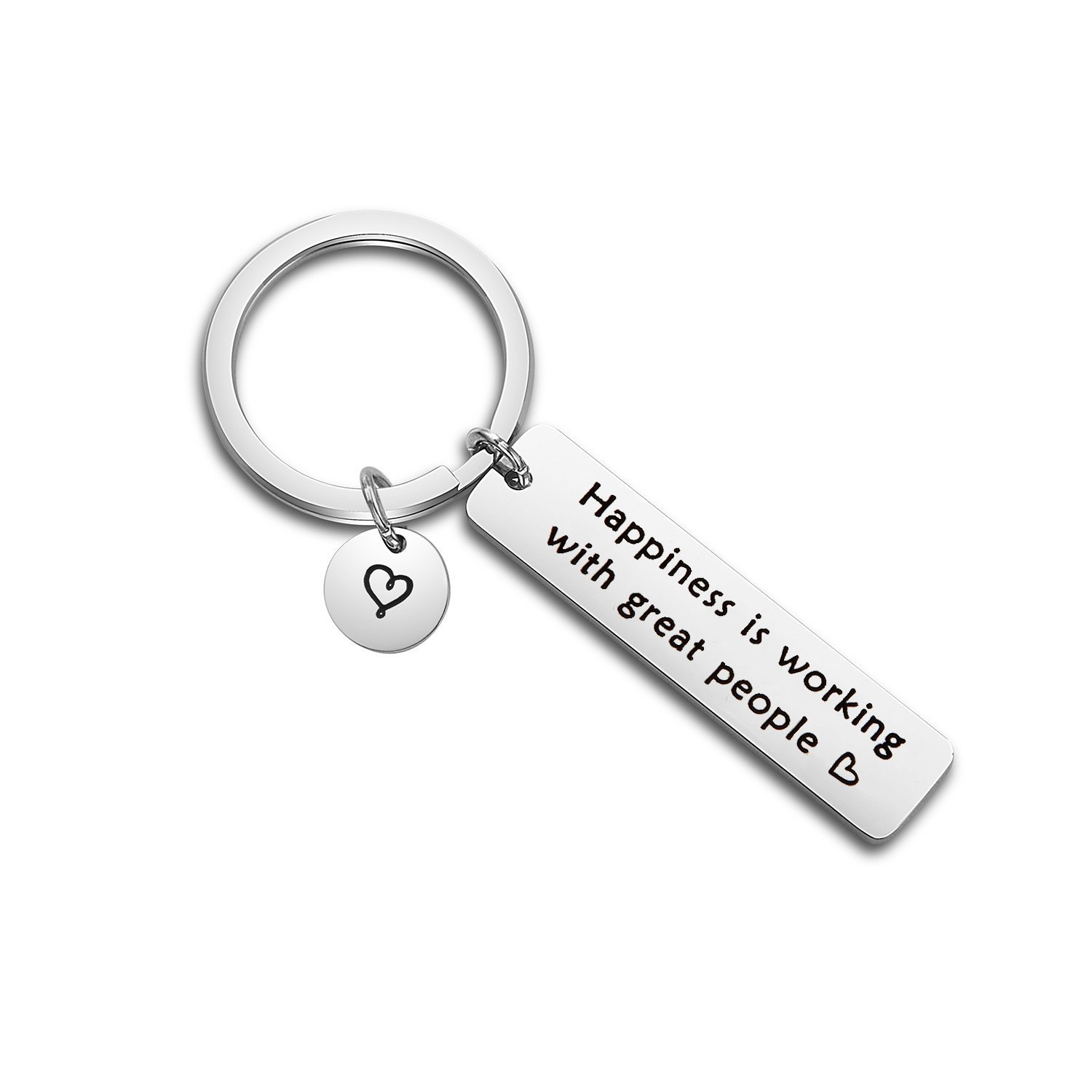 TGBJE Happiness is Working With Great People Keychain Coworkers Gift Hand Stamped Keychain for Colleague Boss (Keychain)