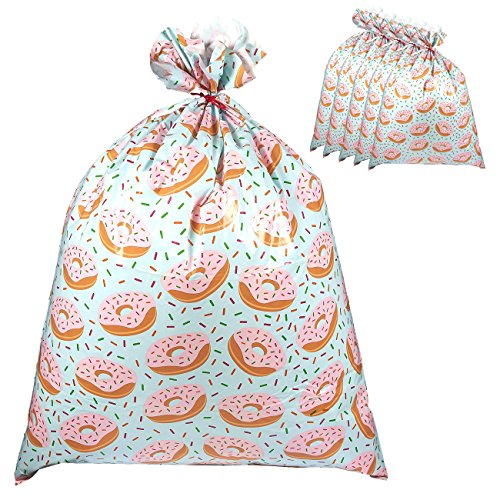 Pack of 6 Jumbo Gift Bags - Giant Plastic Gift Sacks in Donuts Design - Perfect for Large Gifts - Includes Red Strings for Tying, 36 x 48 Inches by Juvale