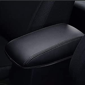 AAGIILEEYO Car Armrest Box Cover Center Console Saver Covers for 2014 2015 2016 2017 2018 Toyota Corolla,Black with Black Stitches
