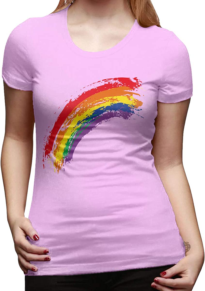 Rainbow Watercolor Womens Basic Short Sleeve Top Crew Neck T-Shirts