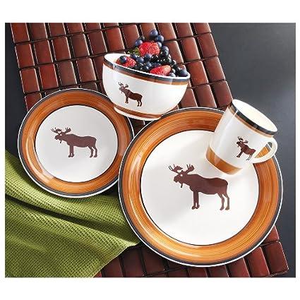 16-Pc. Moose Dinnerware Set  sc 1 st  Amazon.com & Amazon.com | 16-Pc. Moose Dinnerware Set: Moose Plates Brushwerks ...