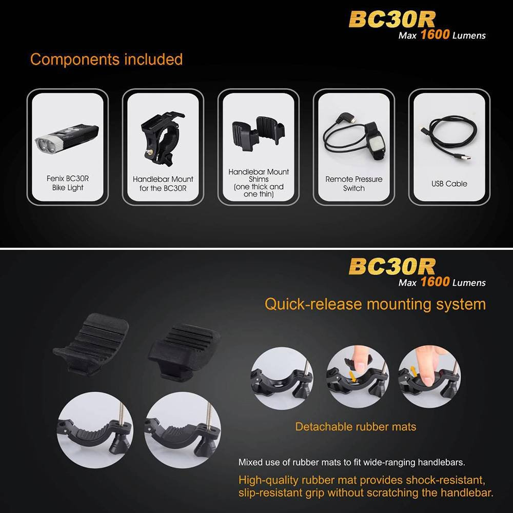 Fenix BC30R USB rechargeable bike light 1600 lumens OLED display screen 5200mah battery by Unknown (Image #3)