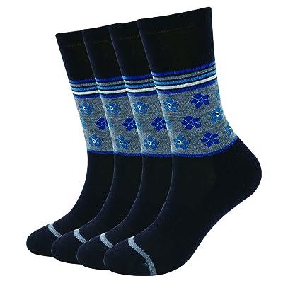 Enerwear-Coolmax 4 Pack Women's Merino Wool Outdoor Hiking Trail Crew Sock (US Shoe Size 4-10½, Black/Blue Flower): Clothing