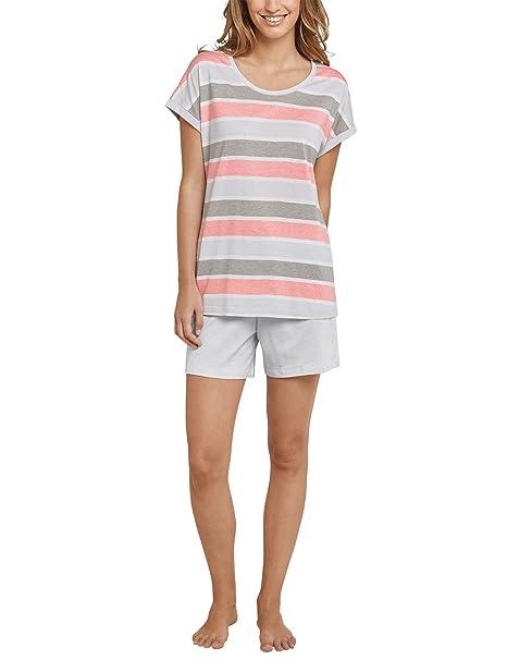Schiesser Anzug Kurz, 1/4 Arm, Pantalones de Pijama para Mujer, Azul