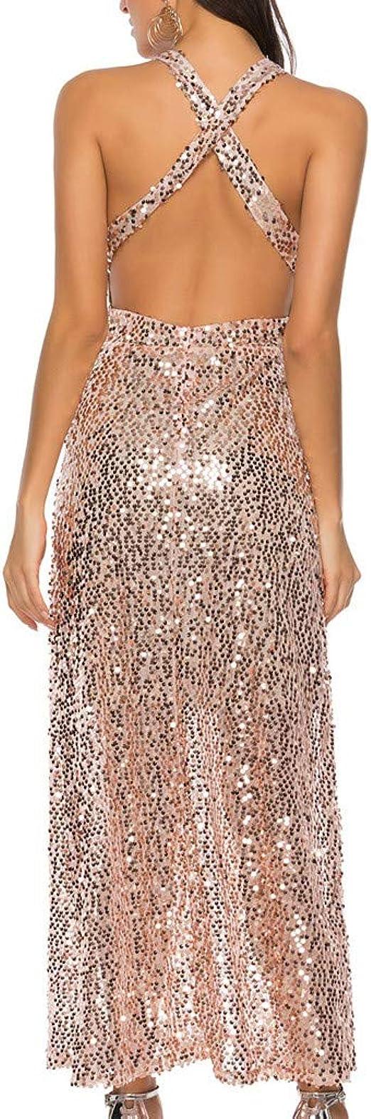Mayogo Damen Festliche Kleider Ohne Armel Glitzer Halfter Kleid Abendkleider Cocktailkleid Partykleid Ruckenfrei Amazon De Bekleidung