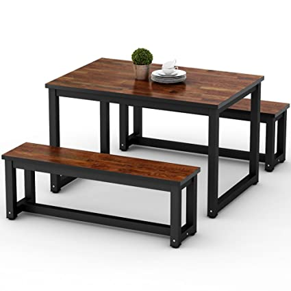 LITTLE TREE Dining Table Set With Two Benches, 3 Piece Rustic Rectangular  Table With