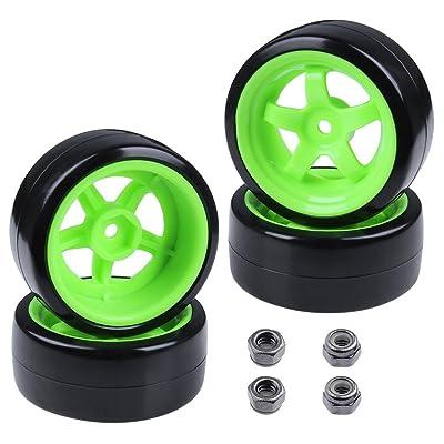 Hobbypark Hard Plastic 26mm RC Drift Car Tires & Wheel Rims Green 12mm Hex for 1/10th Model (Pack of 4): Home & Kitchen