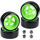 Hobbypark Hard Plastic 26mm RC Drift Car Tires & Wheel Rims Green 12mm Hex for 1/10th Model (Pack of 4)
