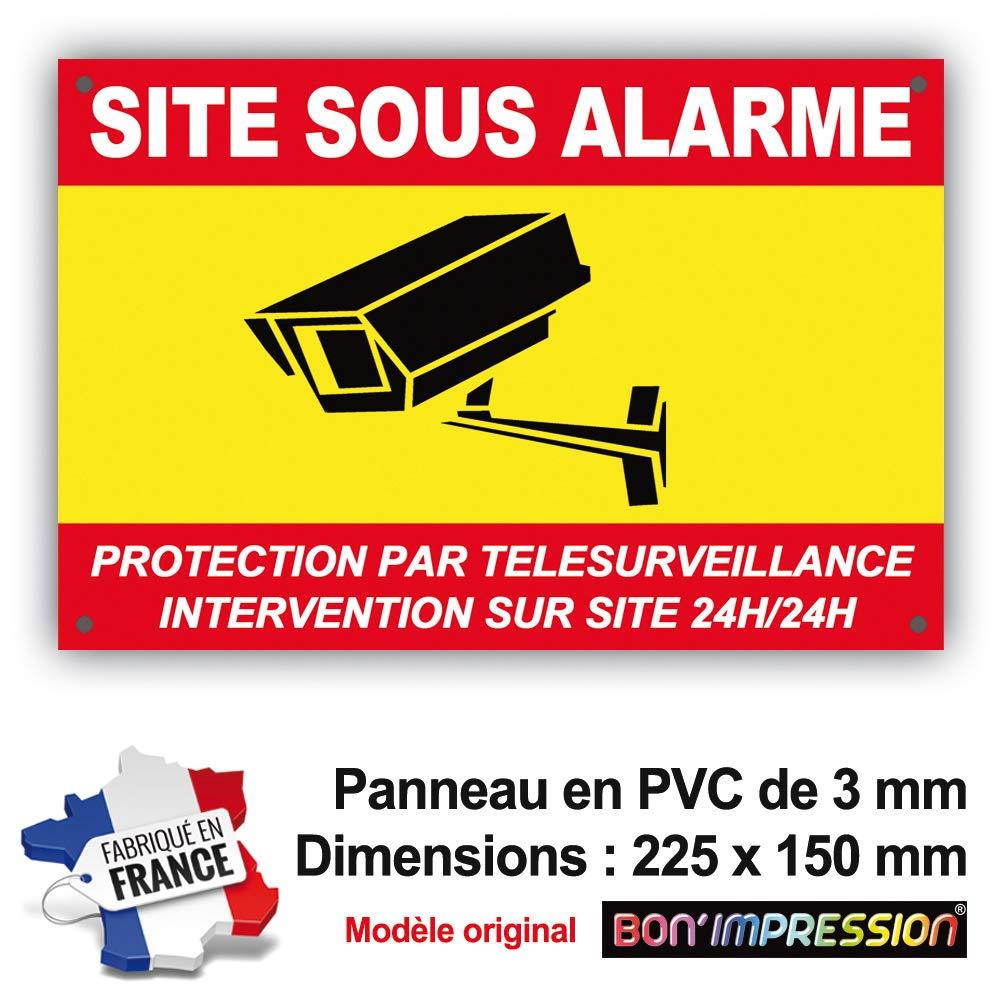 Panneau Alarme//Pancarte Alarme 225 x 150 mm en PVC Intervention sur site 24H//24H Protection par t/él/ésurveillance