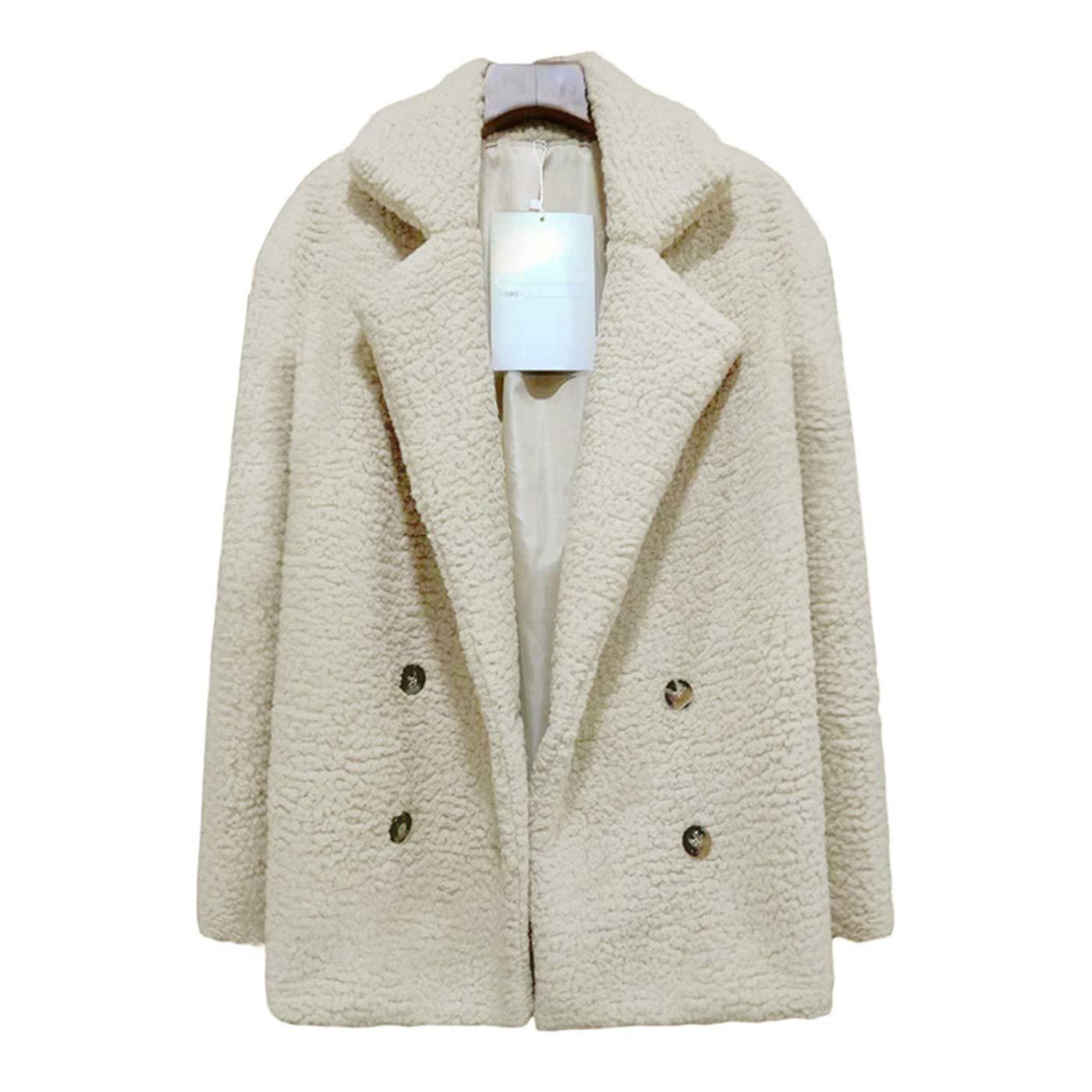 Taopleker Women Fleece Open Front Coat Lapel Neck Button Down Outwear Coat