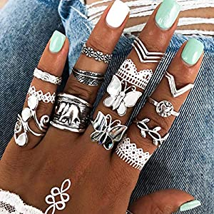 Cathercing 12 Pcs Women Rings Set Knuckle Rings Bohemian Rings for Girls Vintage Gem Crystal Rings Joint Knot Ring Sets…