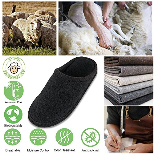 Le Kapmoz Unisexe Maison Pantoufle Pour Hommes Et Femmes Respirant Laine Sabot Chaud Slip Sur Mule Chaussures Dintérieur Noir