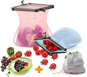 2pcs 33 Oz Reusable Silicone Food Storage Bag with Sealing Clip, KABB Upgrade Food Preservation Bag Leak Proof Dishwasher Safe Snack Sandwich Liquid Bag (Bonus 2pcs produce bags)
