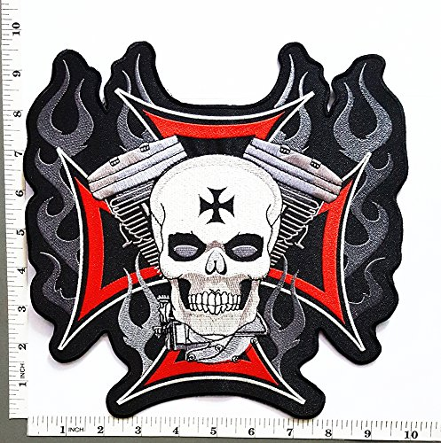 Big Large Jumbo Motorcycles V Twin Red Cross Skull Ghost Flame Rider Biker Tatoo Back Jacket T-shirt Patch Sew Iron on Embroidered Sign Badge (Big Twin Cycles)