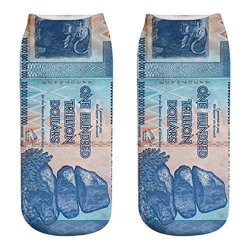 - YOMXL Cute Women Short Socks Casual Work Business Cotton Socks Dollar Banknote Pattern 3D Printing Medium Sports Crew Socks