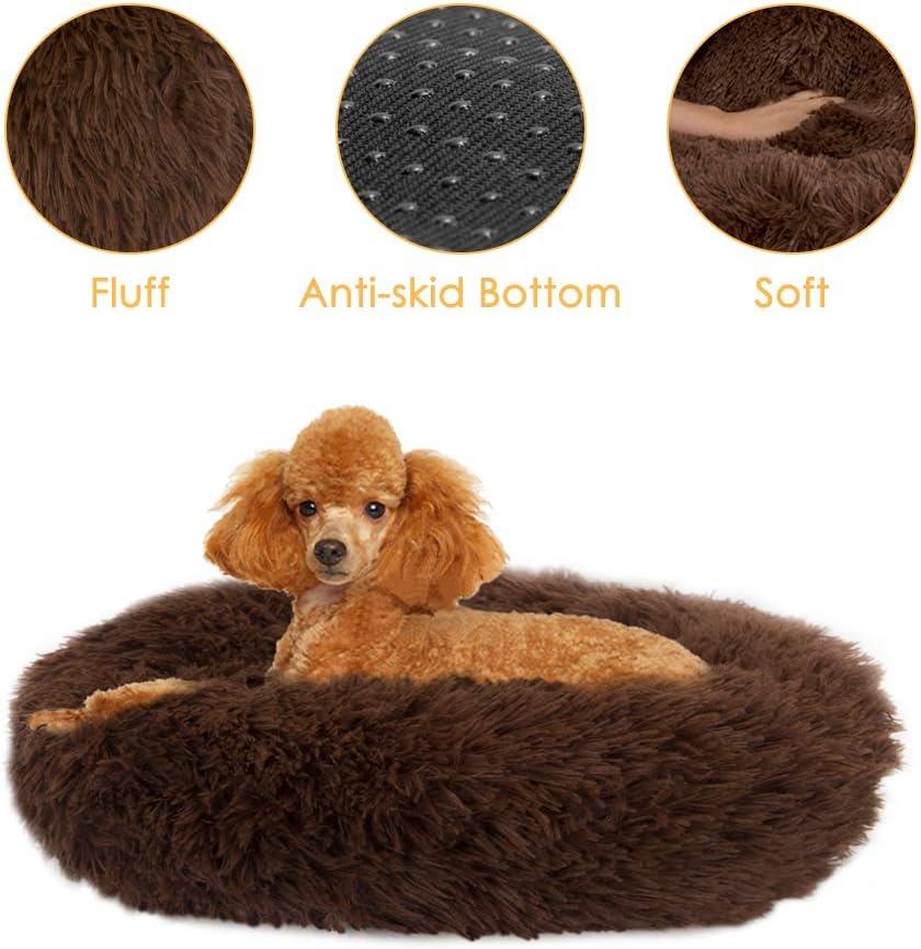 SlowTon Pet Calming Bed, Donut Cuddler Nest Cojín de Gato de Felpa Suave y cálido para Gatos con Esponja acogedora Fondo Antideslizante , Lavable a máquina 15.7in / 19.7in / 23.6in