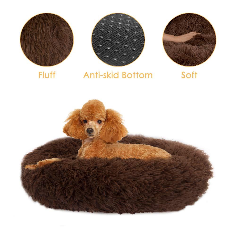 SlowTon Calming Dog Bed, Donut Dog Cuddler Bed Ultra Soft Fluffy Faux Fur Plush Round Anti-Anxiety Dog Cat Cushion Bed…