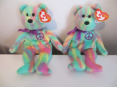 8d0b766dd11 Image Unavailable. Image not available for. Color  2 TY Tie Dye Beanie  Babies PEACE ...