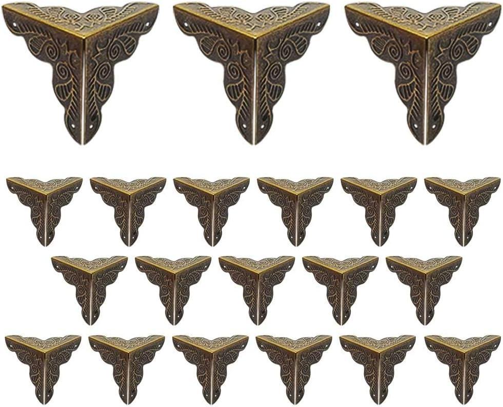 25 25mm Dreiseitiger Antik Metall Schutz-Ecken M/öbel Ecken Bronze LUCY WEI 20 St/ück 25 f/ür Kisten Boxen M/öbel Regal Tisch usw.