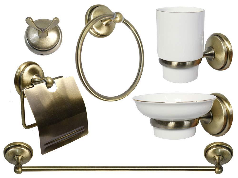 Vetrineinrete/® Set da Bagno Design Classico in Metallo Oro Satinato Ceramica 6 Pezzi Accessori arredo Bagno Semplice Porta saponetta portarotolo spazzolini Asciugamano A46