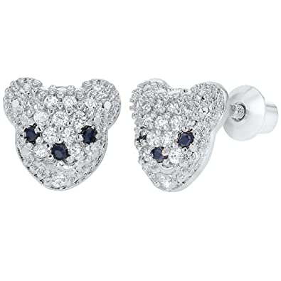 94b1ddf7b Image Unavailable. Image not available for. Color: Rhodium Plated Clear  Little Bear Screw Back Toddler Girls Earrings