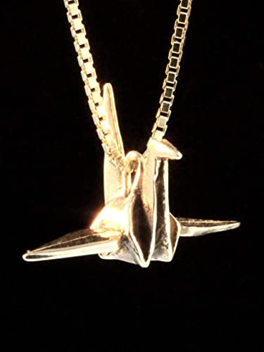 Resting Origami Paper Crane Triangle Hoop Earrings \u2022 Silver and Gold