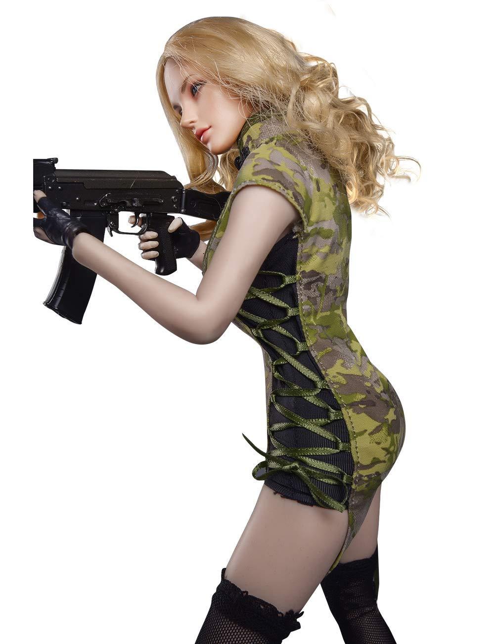 Phicen 1//6 Female Body Samurai Girls Cheongsam Set Phicen Limited Black CP Camouflage