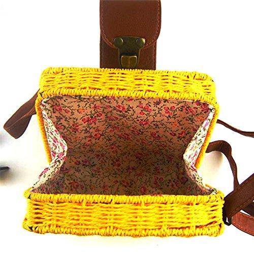 de para playa la mujer y Beige cuadrado diseño vintage Flower205 para ratán bandolera la de para estilo verano el paja Bolso beige playa nfw7TxEqTI