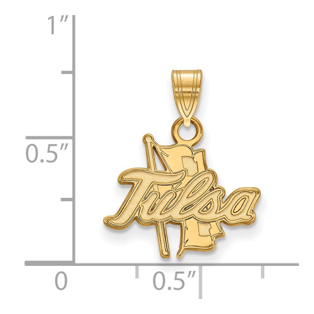 15mm x 18mm Jewel Tie 925 Sterling Silver with Gold-Toned The University of Tulsa Small Pendant
