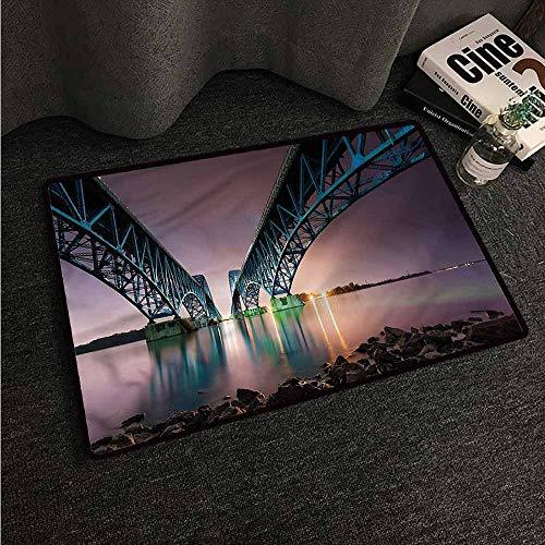 VIVIDX Custom Doormat,USA,South Grand Bridge on Niagara,Machine-Washable/Non-Slip,35