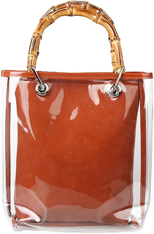 BLING-CLUB Women PVC Bag Transparent Jelly 2 Layers Shoulder Bag Vintage Bamboo Totes