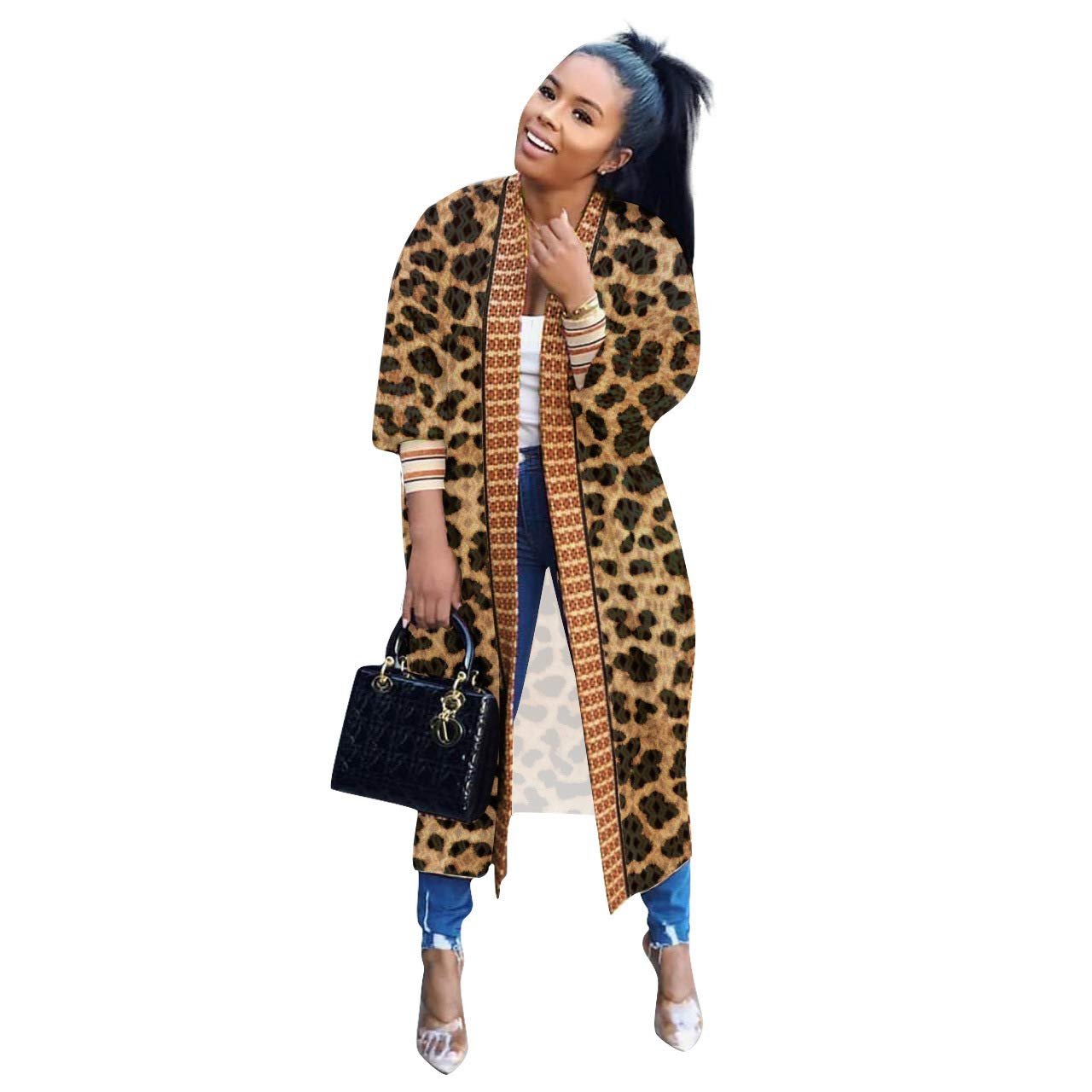 Women's Cardigan Jacket Totem Print Casual 3/4 Sleeve Duster Outer Long Trench Coat
