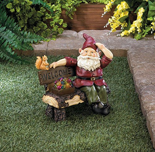 Garden Gnome Statue SOLAR GNOME ON WELCOME BENCH Squirrel - Squirrel Welcome