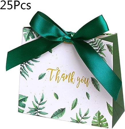huyiko - Lote de 25 Cajas de Papel Verde para Regalo de Boda, Baby Shower, Fiestas de cumpleaños, Navidad, Suministros de Boda: Amazon.es: Hogar