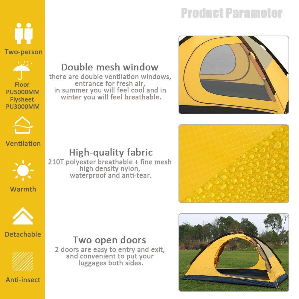 Geertop 2-Person 4-Season Backpacking Tent for Camping Hiking Travel Climbing Easy Set Up