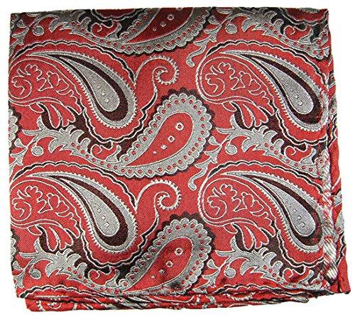 Paul Malone de carré de poche mouchoir 100% soie Rouge paisley