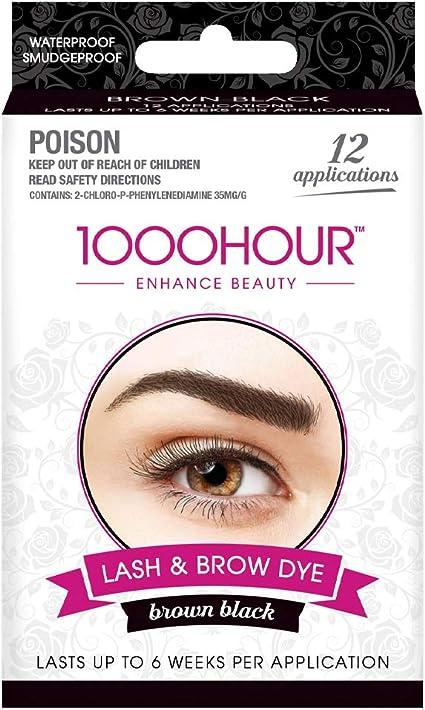 Kit de máscara permanente de 1000 Hour para tinte de cejas y pestañas (marrón, negro) de 1000Hour