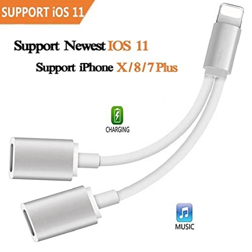 Adapter & Splitter für iPhone 8/8 Plus/7/7Plus/X, 2 en 1 adaptador de Lightning,Double Lightning auricular Audio & carga Llamadas convertidor para iPhone 8/8 Plus/7/7Plus/X Compatible para iOS 10.3/11 …