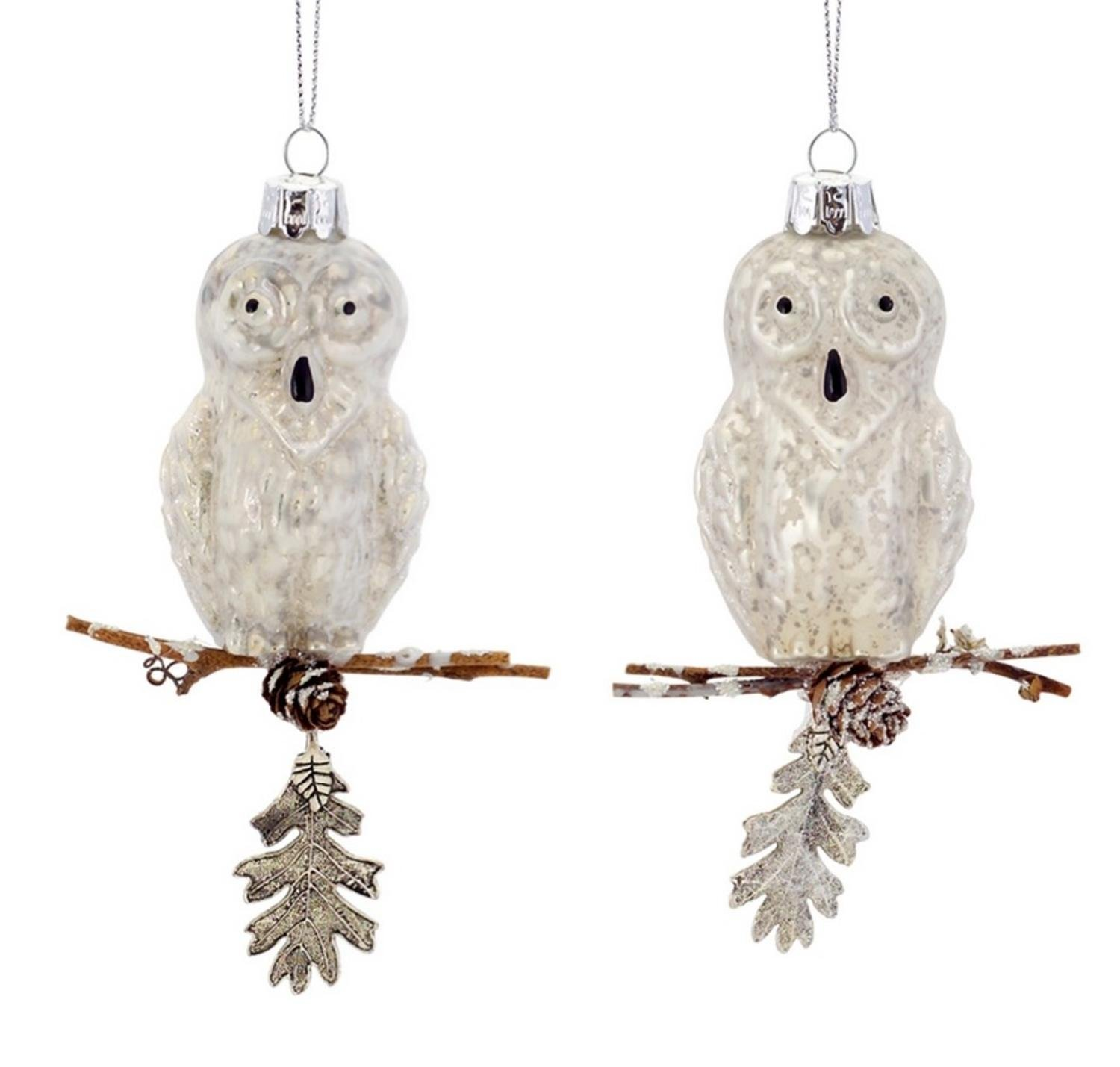 Club Pack of 12 Rustic Lodge Shiny and Matte Mercury Glass Snowy Owl Ornaments 4