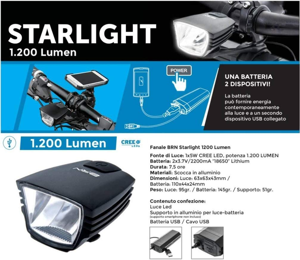 BERNARDI Luce LED Anteriore Starlight BRN 1200 Lumen con Batteria