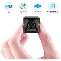 Caméra Espion,Flylinktech Mini caméra de Surveillance Full HD 1080P avec Vision Nocturne et Carte SD 8G