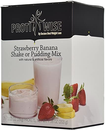 ProtiWise – High Protein Diet Strawberry Banana Shake Pudding Low Calorie, Low Fat, Low Cholesterol 7 Box