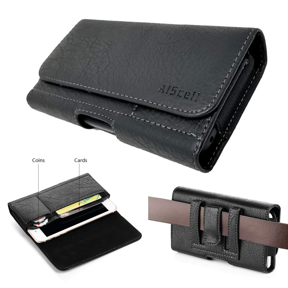 beded34fc96d AISCELL Wallet Pouch for Moto Z4, Moto Z3 Play,Moto Z3,G7 Plus,Moto  G7,REVVLRY+, Black Faux Leather Pouch Card Slot Case Belt Loop Holster Fits  Phone ...
