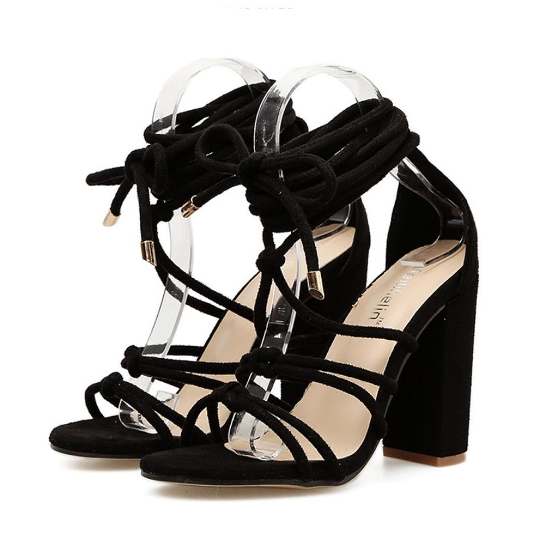 a2c3a7dc51af Amazon.com  Baigoods Roman Strap Shoes Women Sandals Sexy Sandals Solid  High Heels Woman Ankle Square Heel Boots  Clothing